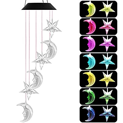 VICOODA Solar Wind Chimes, Color-Changing Windchime Unique Outdoor Décor Portable Wind Spinner Decorative Wind Mobiles Waterproof Hanging Wind Bell Mom Gift for Home, Party, Festival, Garden, Yard