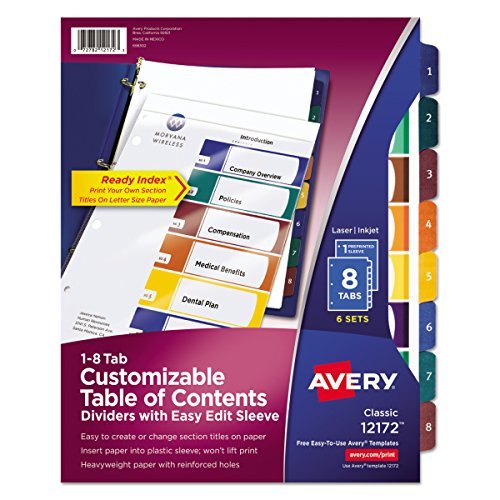 Avery Ready Index Easy Edit Table of Contents Dividers, 8-Tab, 6 Sets (12172) ()