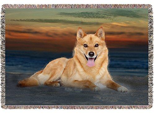 Finnish Spitz Dog Woven Throw Blanket 54 X 38