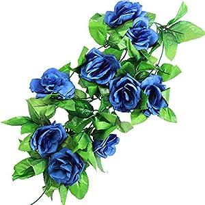 StillCool 8ft Rose Garland Artificial Rose Vine Silk Floral Flower Garland Green Leaf Flowering Vine Home Decor Wedding Decoration (Dark Blue) 10