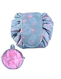Bolsas de cosméticos organizador,alwaysig Bolsas de Maquillaje Viaje Bolsas de aseo con el lazo de la bolsa bolsa de Organizador almacenamiento de maquillaje del bolso para Viaje Diario (Flamingo)