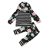 1-5Y Infant Baby Toddler Girl Floral Stripe Hooded Shirt Top & Pants Outfits Set (4T-5T)