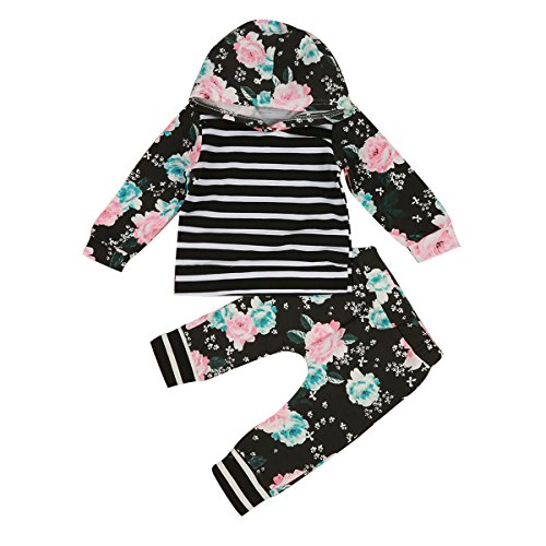 1-5Y Infant Baby Toddler Girl Floral Stripe Hooded Shirt Top & Pants Outfits Set (3T-4T) ()