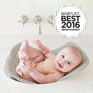 Puj Tub - The Soft, Foldable Baby Bathtub - Newborn, Infant, 0-6 Months, In-Sink Baby Bathtub, BPA free, PVC free (Grey)