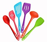 Silicone Kitchen Utensil Set, Sanply 6 Piece Cooking Utensils Set, Kitchen Tools and Gadgets Set, Non-Stick Heat Resistant for Cooking, Baking, BBQ (6)