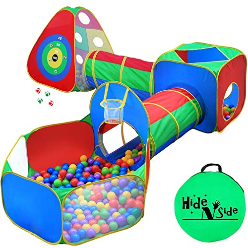 5pc Kids Ball Pit Tents and Tunnels, Toddler Jungle Gym Play Tent with Play Crawl Tunnel Toy, for Boys babies infants Children, Pit Balls NOT Included, Indoor Outdoor Gift, Target Game w/ 4 Dart Balls (Fun Games To Play Inside The House)