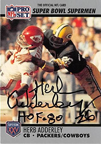 Herb Adderley autographed football card (Green Bay Packers) 1990 Pro Set  Super Bowl Supermen b1f7b4db9