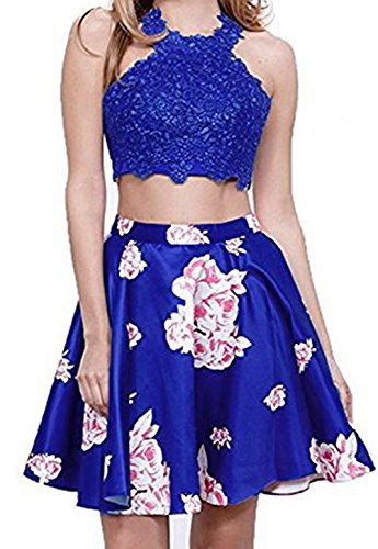 Party Royal Halter Homecoming Lace Floral Short Cocktail BessDress Blue BD348 Dresses Dresses qvY41f