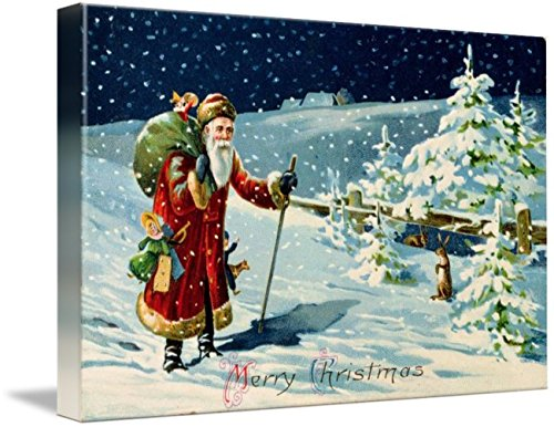 Wall Art Print entitled Father Christmas In The Snow, Victorian Card Santa by The Fine Art Masters   10 x 7