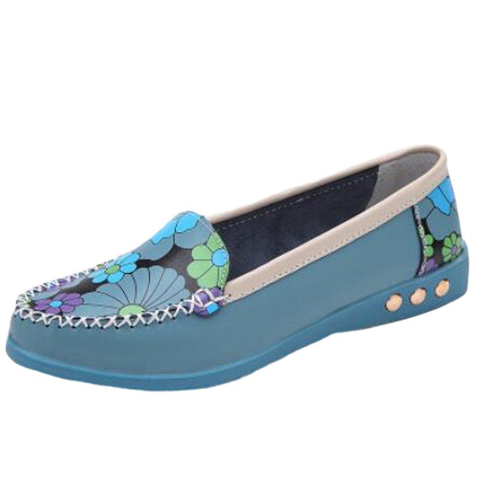 MatchLife Damen Vintage Leder Flach Pumpe Casual Schuhe Style4 Blau EU35//CH36