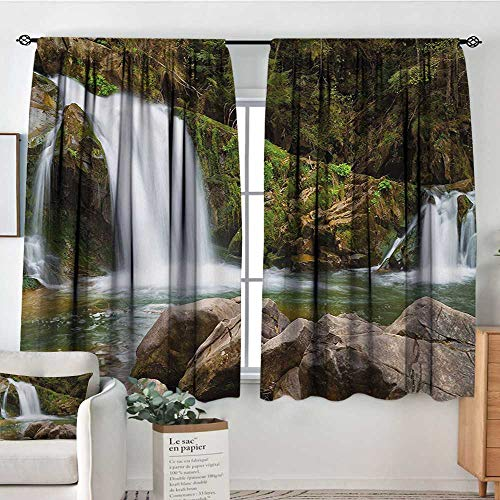 Waterfall Patterned Drape for Glass Door Photo of Mother and Baby Waterfalls by The Mountain Side with Moss on Rocks Waterproof Window Curtain 55