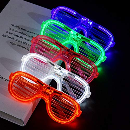 Mosie LED Lights Glasses 12 Pack Glow Glasses Neon Party Supplies Battery in in