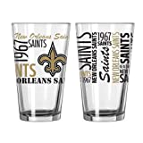 2015 NFL Football Spirit Series Beer Pints - 16 ounce Mixing Glasses, Set of 2 (Saints)