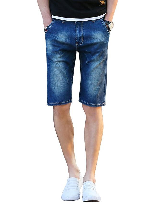3b079366c5b4c OCHENTA Homme Shorts Jean Pantacourt Chino Slim Eté Denim Bermuda Jeans   Amazon.fr  Vêtements et accessoires