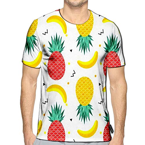 3D Printed T Shirts Colorful Summer with Fruits Banana Watermelon and Geometric Elements in Memphis Casual Mens Hipster Top Teese