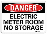 SmartSign by Lyle U3-1399-RA_10X7 DANGER ELECTRIC METER ROOM NO STORAGE Reflective Recycled Aluminum Sign, 10'' x 7''