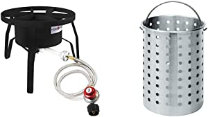 GasOne B-5300 One High-Pressure Outdoor Propane Burner Gas Cooker Weld, Black & Bayou Classic B300 Perforated Steam, Boil, Fry Accessory Basket. Fits 30-Quart Bayou Classic Turkey Fryers