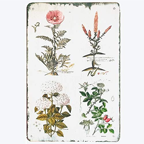 TISOSO Decorative Signs Vintage Floral Botanical Metal Tin Signs Wall Art Country Pallet Plaque Garden House Signs 8