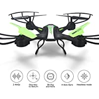 ANNONGONE JJRC H33 Headless Mode RC Drone Quadcopter 2.4G 4CH 6 Axis Gyro 360° Flip Remote Control RC Drone with Led Lights Green
