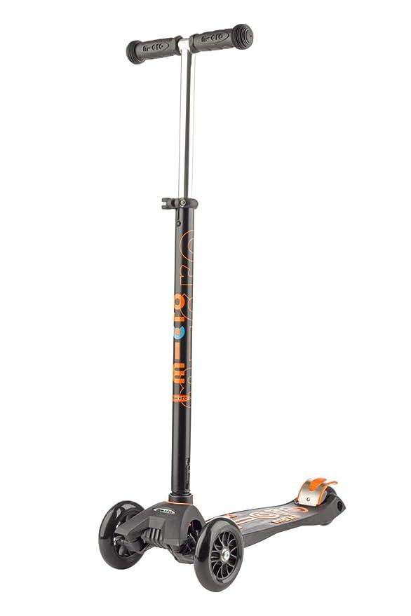 Micro Maxi Deluxe, Patinete 3 Ruedas, 5-12 Años, Carga Máx 70kg, Peso 2,5kg (Negro)