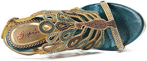 ZPL Le signore delle donne a metà di tacco basso con cinturini a fascia con strass Strass pavone Party Prom Sandali Size, Blue, EUR 36/UK 4  rbZyhQ