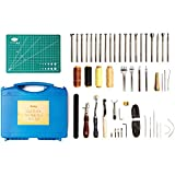 53 Pieces Leather Stamping Tools - Tooling Leather Sewing Stitching Kit - Leather Crafting Working Tools, incl. Edge Beveler, Cutting Mat, Leather Groover and Stamps
