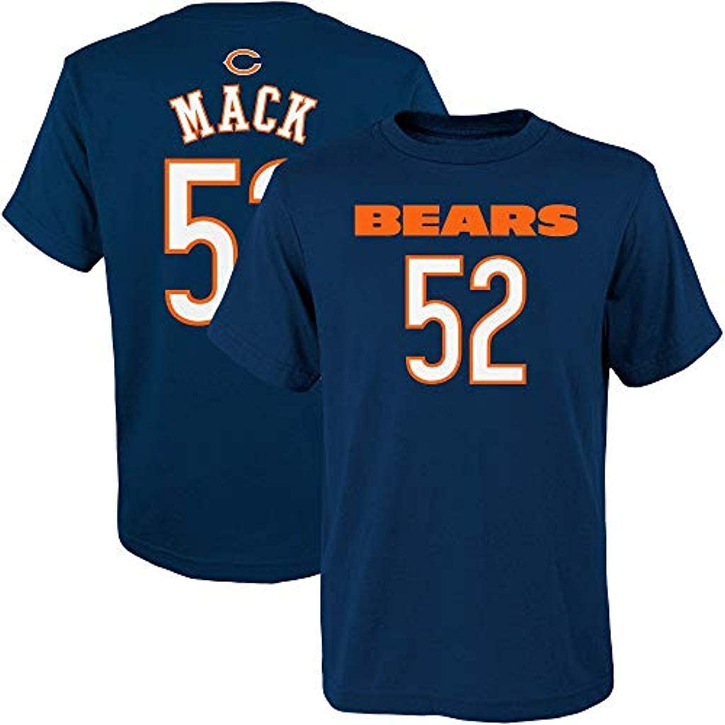 Outerstuff Khalil Mack Chicago Bears NFL Apparel Youth 8-20 Navy Mainliner Player Name /& Number T-Shirt