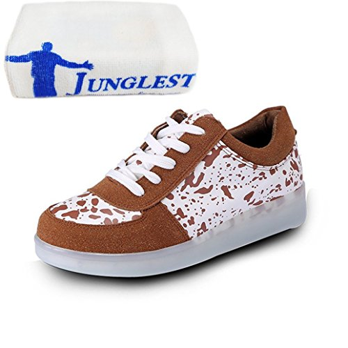 (Present:small towel)JUNGLEST LI & HI colorful LED Light USB Charging adult pairs of shoes autumn and winter sports shoes casual shoes luminous current U Brown RDW6SS