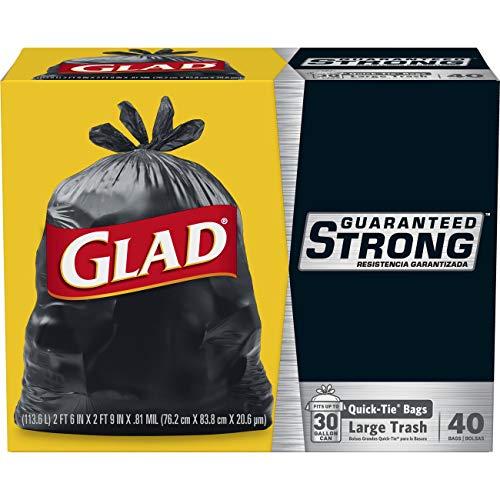 Glad Large Quick-Tie Trash Bags - Extra Strong 30 Gallon Black Trash Bag - 40 Count (Black Bag Ties)