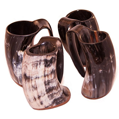 Norse Tradesman Viking Horn Mug Tankard Set w/ Burlap Gift Sack   24 Ounces   Set of (Buffalo Beer)