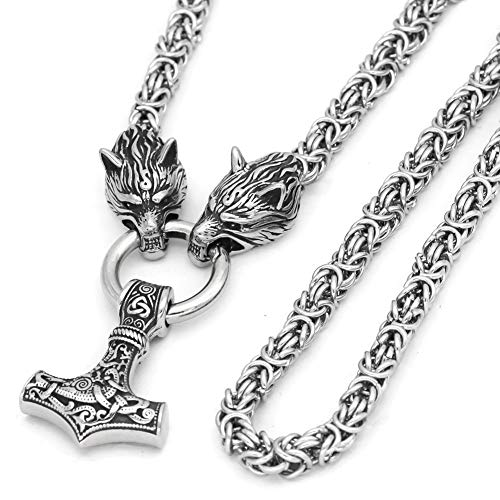 GuoShuang Men Stainless Steel Wolf Head Norse Viking Amulet Thor Hammer Mjolnir Necklace King Chain with Valknut Gift Bag
