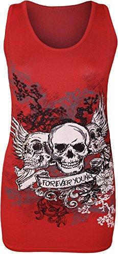 New Womens Danger Skull Sequin Fitted Vest Top 8-14 ( Red , UK 12-14 / EU 40-42 )