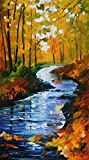 100% Hand Painted Oil Paintings Modern Abstract Oil Painting on Canvas A forest Streams Home Wall Decor (20X36 Inch, Oil Painting 1)