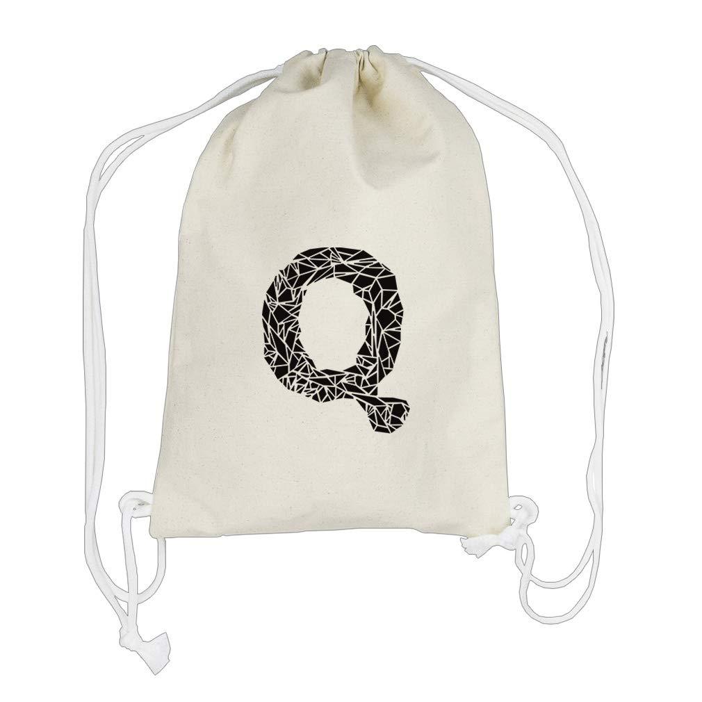 ''Q'' Crystal Glass Monogram Letter Q Cotton Canvas Backpack Drawstring Bag