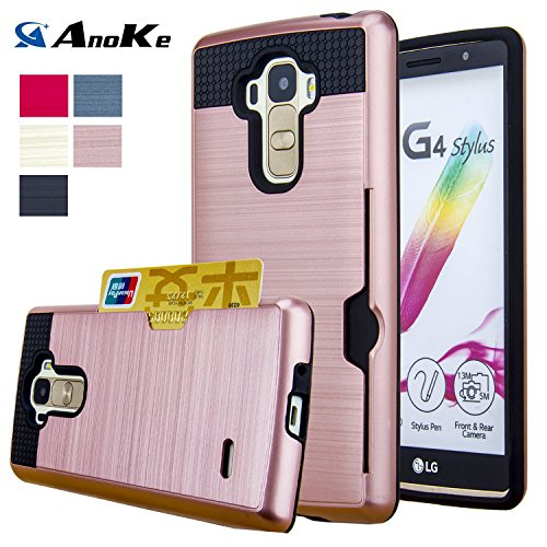 LG G Stylo Case, LG G4 Stylus Case, (Not Fit LG G4) AnoKe [Credit Card Slots Holder][Not Wallet] Hard Silicone Rubber Hybrid Armor Shockproof Protective Holster Cover Case For LG LS770 - KLS Rose Gold