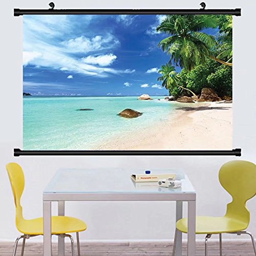 Gzhihine Wall Scroll Turquoise Beach on Seychelles Decor ndian Seascape Relaxation Picture Print Kids Room Accessories Art Wall Hanging Turquoise Blue vory - Map On The Beach Broadway