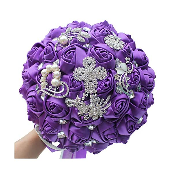 FYSTORE Bride Bouquet Brooch Bouquet Bridesmaid Holding Wedding Flowers 235 (Purple)