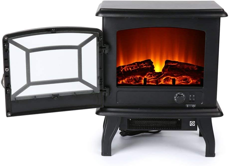 Gkkcoo Effect Electric Stove Heater With Log Burner Flame 1800w Black Freestanding Fireplace Log Burning Flame Eco Ultra Quiet Blower Standing Fan Heater Sf507 17 Amazon Co Uk Kitchen Home