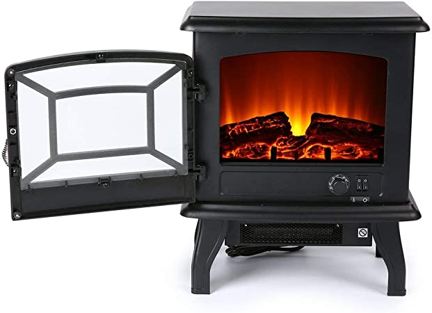 Gkkcoo Effect Electric Stove Heater With Log Burner Flame 1800w