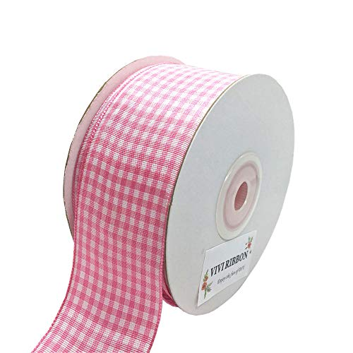 (Pink Plaid Ribbon Gingham Ribbon Check Ribbon 1.5 Inch 25 Yard Each Roll 100% Polyester Woven Edge for Crafts, Gift Packing, Wedding Decoration (Pink, 1.5INCH))