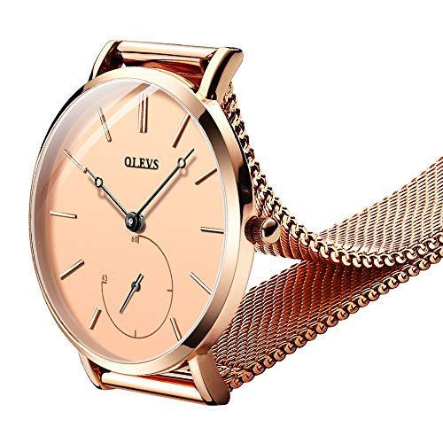 (OLEVS Women Ultra Thin 6.5mm Quartz Rose Gold/Black Mesh Steel Wrist Watch with Free Adjust Screwdriver, Waterproof & Date Window (Rose Gold Chronograph dial & Rose Gold Band))