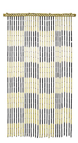 All Fun Gifts Bamboo Beaded Door Curtain - Assorted Designs (Checker) -