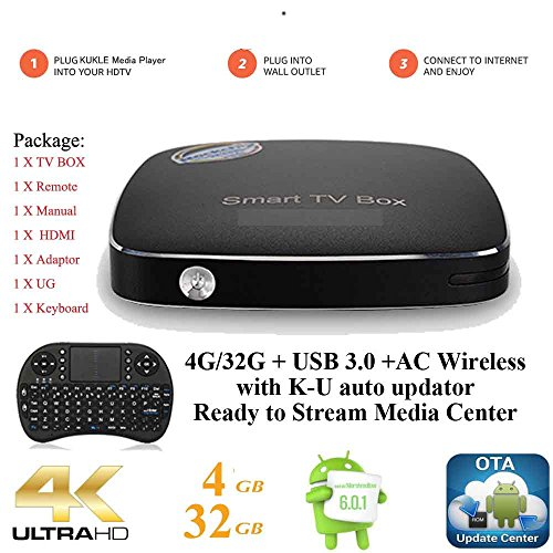 Kukele Pro 4G/32G Streaming Media Player [RK3399/K-U updator/4GB+32GB/USB 3.0/4K/11AC Wireless/Instruction/Keyboard] Android 6.0 Marshmallow TV Box (Xbmc Quad 2gb)