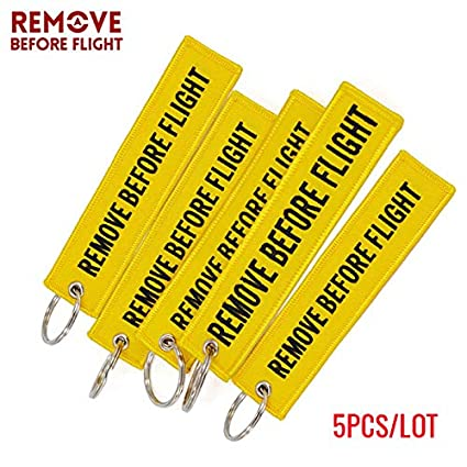 Key Rings Aviation Gift Remove Before Flight Key Fob llaveros Important Things Tag Yellow Embroidery OEM