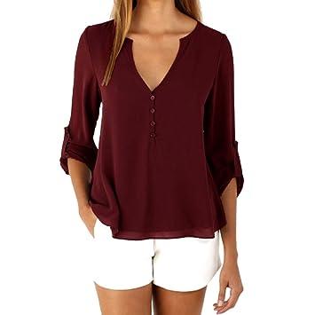 Mujer blusa elegante Otoño,Sonnena ❤ Camisa de chifón de manga larga suelta para mujer Blusa casual Tops de la camisa Blusa de moda: Amazon.es: Hogar