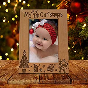 KATE POSH My 1st Christmas Picture Frame, My First, Baby's 1st Christmas, New Baby, Santa & Me Engraved Natural Wood Photo Frame (5×7-Vertical – Classic)