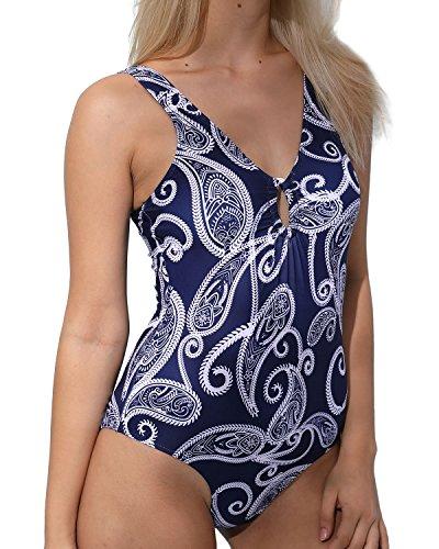 nt Tank One Piece Swimsuit for Women, Cut Out Vintage Swimwear, Blue M (Paisley Print Tank)