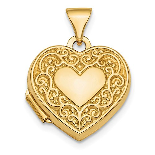 Solid 14k Yellow Gold Polished Fancy Scroll 15mm Heart Locket