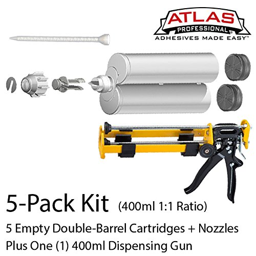 Atlas Pro 400ml (13.2oz) Empty Dual-Barrel 1:1 ratio cartridge kit with gun & nozzles 5-Pack