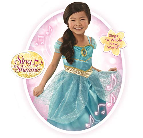 Disney Princess Jasmine Sing & Shimmer Dress, 1 Piece, Size: 4-6X, Turquoise [Amazon Exclusive] -